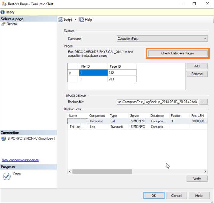 Perform database integrity checks from Restore Page