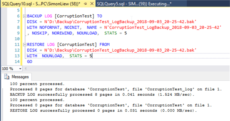 backup database commands sql server