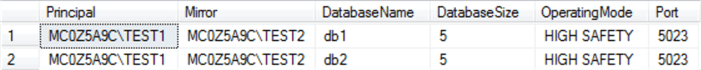sql server result set for database mirroring status