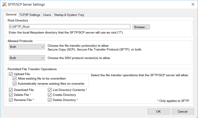 sftp settings root directory
