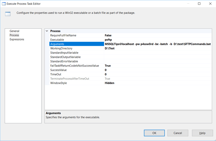 configure execute process task