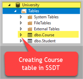 create table in ssdt
