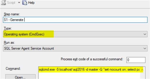 sql job step to write parameters to a file