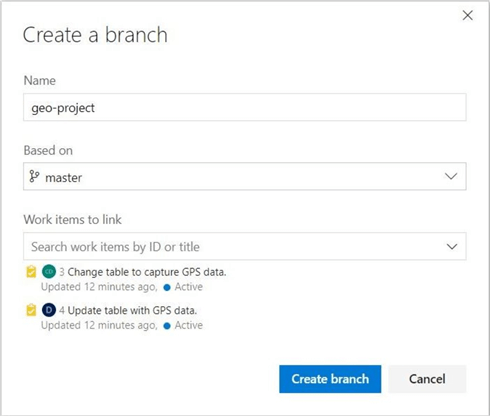 Use the Repos, Create Branch menu to assign several work items to a new feature branch.