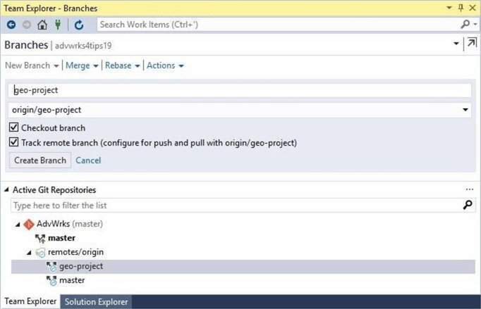 Visual Studio will see the new branch.  You must checkout (create) a matching local branch.