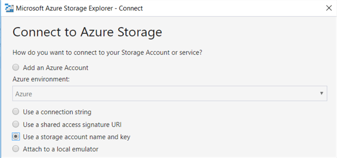 storage account name and key option