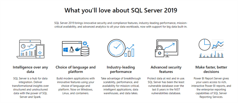 SQL Server 2019 important features