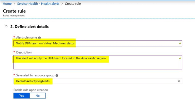 azure service health alerts create rule
