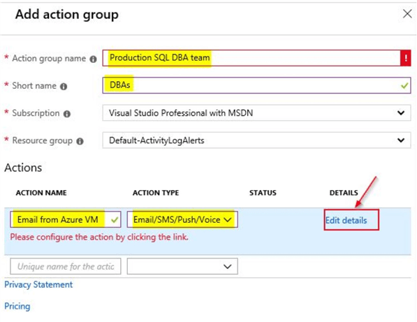 azure service health alerts add action group