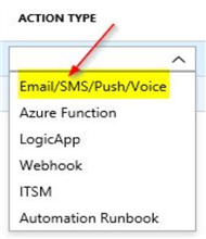 azure service health alerts select action type