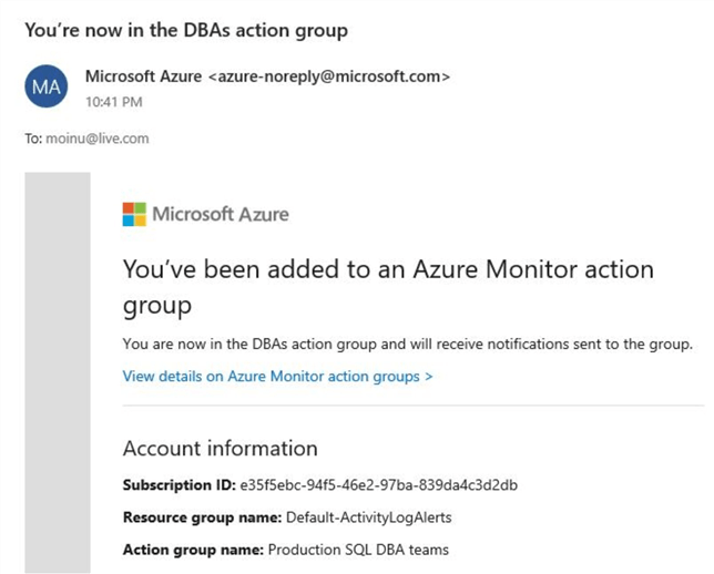 azure service health alerts action group assigned