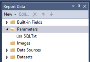 SQLTxt appearing in report parameters