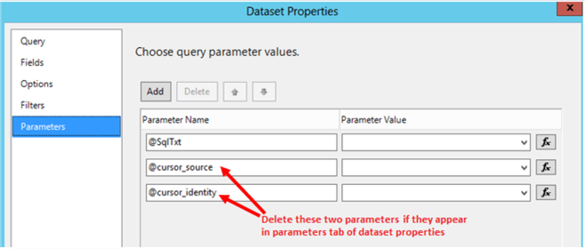 Showing two parameters that need to be deleted if they are showing up.
