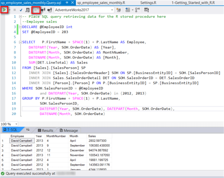 The screenshot shows the SQL query codes and execution results.