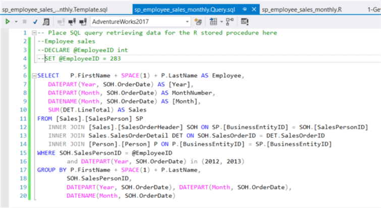 The screenshot shows the final version of the SQL codes.