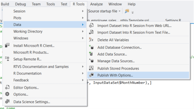 "The screenshot shows how to publish the SQL stored procedure. Click the pull-down menu ""R Tools"" and select the ""Data -> Publish With Options…""."