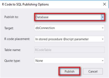 The screenshot shows a pop-up window to configure the SQL publishing Options.