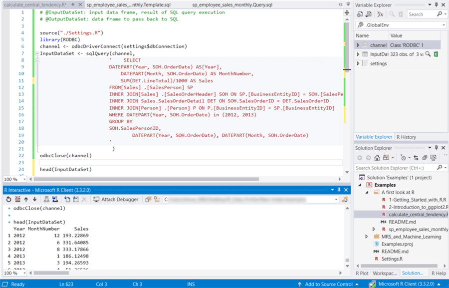 The screenshot shows codes and execution results of the new created R file.