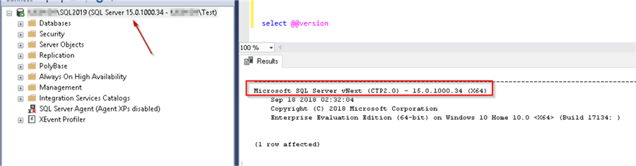 SQL Sever 2019 preview connect with SSMS 18.0