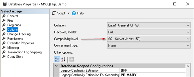 compatibility level 150 in SQL Server 2019