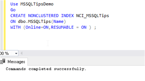 Resumable Online Index Create with online=On in SQL Server 2019