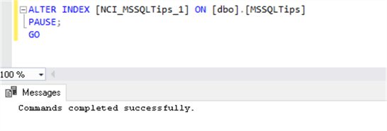 script to pause Resumable Online Index  in SQL Server 2019