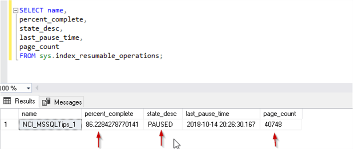 View the status of resumable index in SQL Server 2019