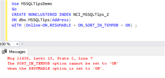 Error if we use SORT_IN_TEMPDB option for resumable index.