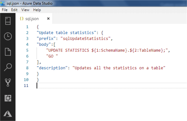 Azure Data Studio snippet 7