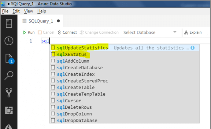 Azure Data Studio snippet 9