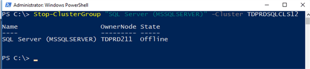 powershell command stop cluster