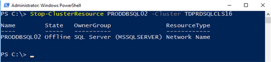 powershell command stop cluster resource