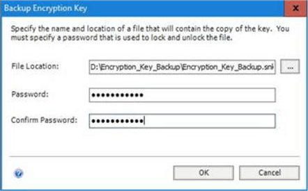Specify the Location and the Password of the Encryption Key.