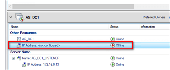 failover cluster manager ip address
