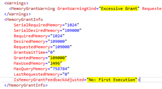 Memory grant feedback first execution