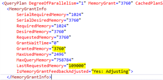 Memory grant feedback second execution