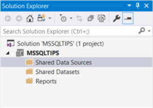 The screenshot demonstrates the folder structure of a report server project in the Solution Explore panel.