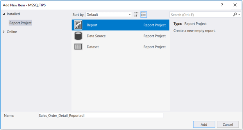 The screenshot demonstrates a dialog in which we can select a report item to create a report.