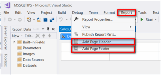 "The screenshot shows the pull-down list of the ""Report"" menu in the tool bar. We can select the ""Add Page Header"" and ""Add Page Footer"" commands form the pull-down list."
