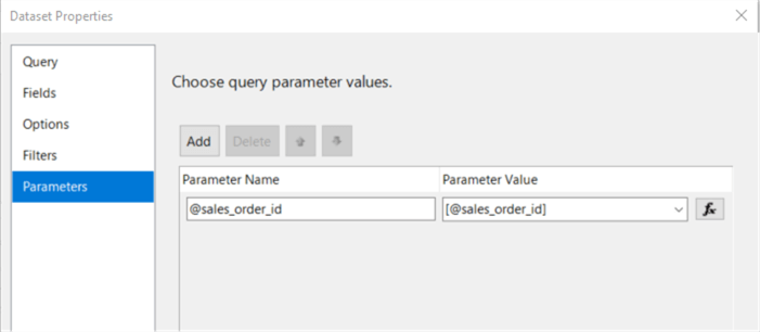 "The screenshot shows the ""Parameter"" tab in the ""Dataset Properties"" dialog, in which we can see the mapping between the report parameters and stored procedure parameters."