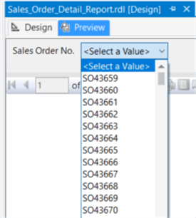 The screenshot demonstrates how business users to pick up a sales order no from a drop-down list.