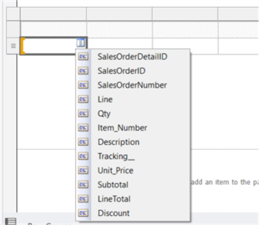 The screenshot shows the field selector, in which we can select a field from the associated dataset.