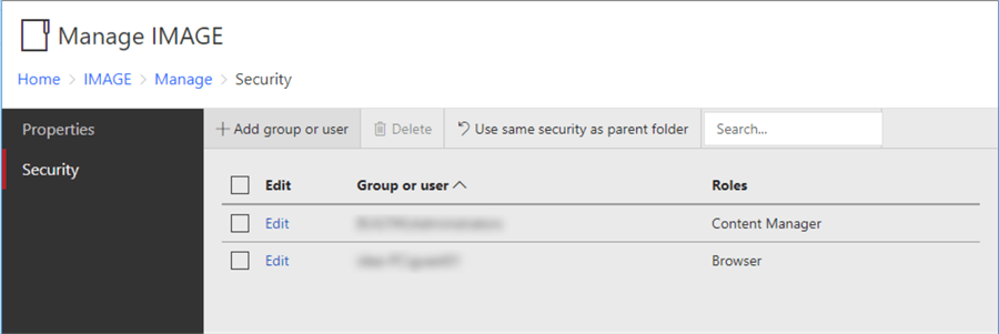 The screenshot shows the security page of the IMAGE folder.