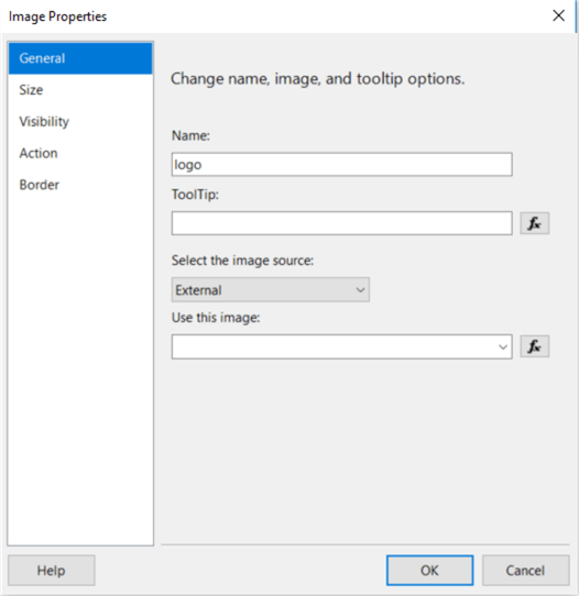 The screenshot shows the image Properties dialog, in which we can configurate the image.