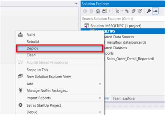 The screenshot demonstrates how to deploy the report project through Visual Studio 2017.
