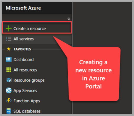 creating a new resource in azure portal