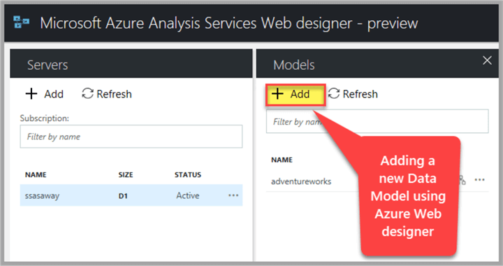 adding a new data model using azure web designer