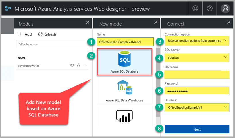 add new model based on azure sql database