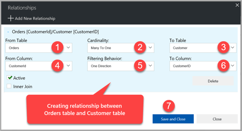 creating relationships between orders table and customer table