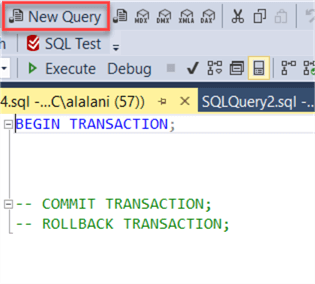 default code for new query window